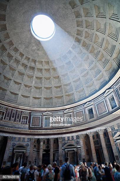 tourists at the pantheon in rome, italy - oudheden stockfoto's en -beelden