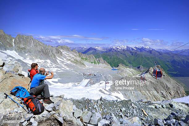 Tourists at the Presena glacier in Trentino Alto Adige, Italy.