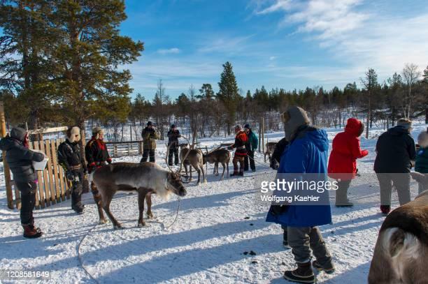 Tourists at the Sami village of Ravttas near Kiruna in Swedish Lapland, northern Sweden.