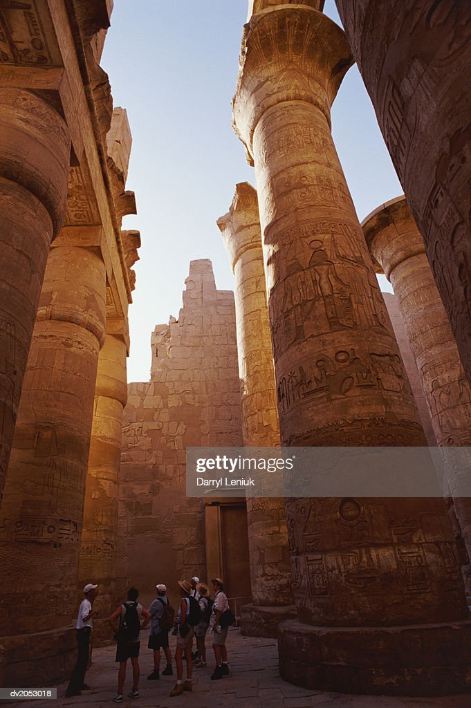 Tourists at The Temple of Karnak, Thebes, Egypt : Stock Photo