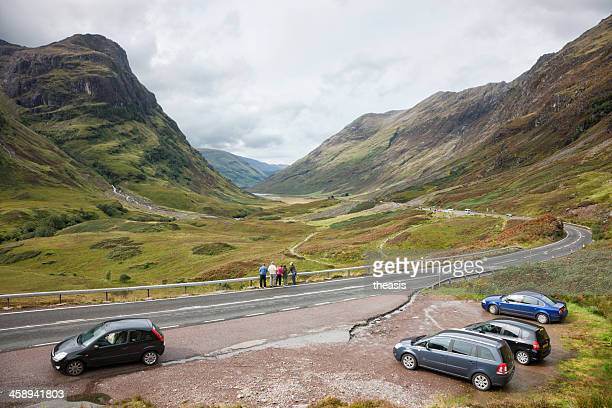 Tourists at the Three Sisters and Pass of Glencoe