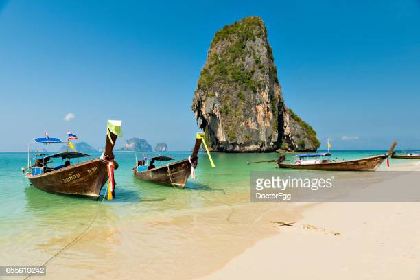 Tourists Boat at Ao Phra Nang Beach in Sunny Day