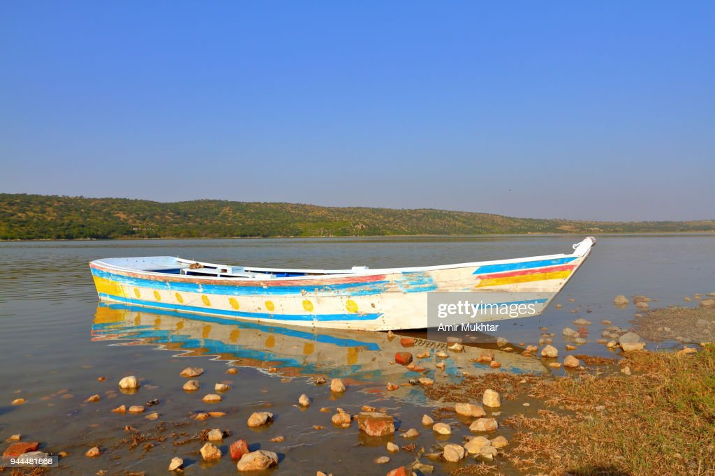 Tourists boat in the lake : Stock Photo