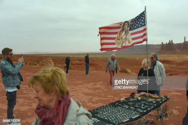 Tourists buy native American Najavo handicraft inside the Monument Valley Park on April 19 2018 Monument Valley is a region of the Colorado Plateau...