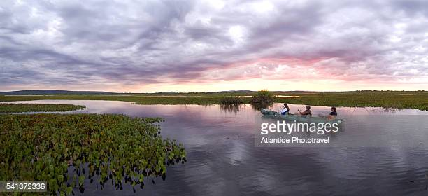 tourists canoeing in wetlands - pantanal wetlands stock pictures, royalty-free photos & images