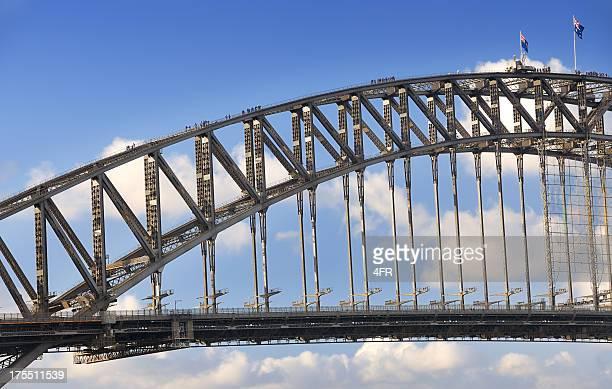 tourists climbing the harbour bridge, sydney, australia (xxxl) - sydney harbour bridge stock pictures, royalty-free photos & images