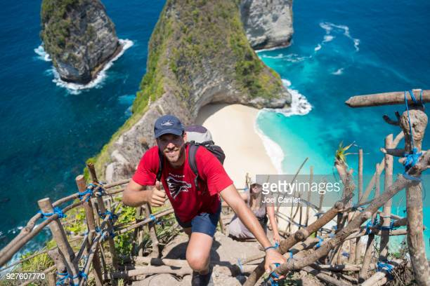 Tourists climbing up from Kelingking Beach, Nusa Penida