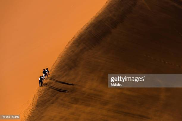 Tourists climbing up the Dune 45 in sandstorm, Namib Desert, Namibia