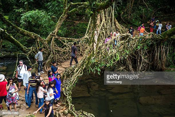 Tourists cross a bridge known as a 'living root bridge' in Mawlynnong Meghalaya India on Monday Aug 15 2016 Two years of deficient rainfall have...