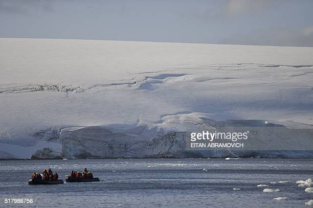 Tourists cruise the western Antarctic peninsula on March 06 2016 The Antarctic tourism industry is generally considered to have begun in the late...