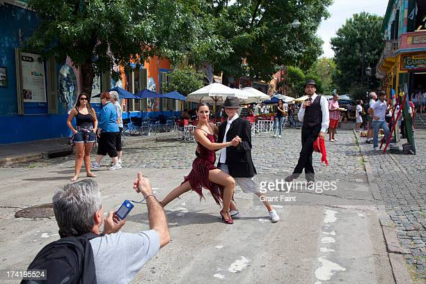 Tourists dancing