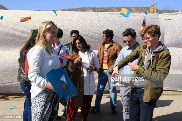 Tourists enjoy Kite Festival on the occasion of Makar Sankranti at Jal Mahal in JaipurRajasthanIndia Jan 142019