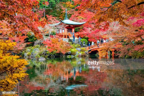 Tourists enjoy Red Maple Sightseeing at Bentendo Hall of Daigoji Temple