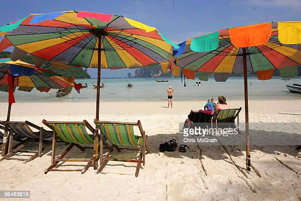 Tourists enjoy the beach December 23 2005 on Phi Phi Island Thailand As the one year anniversary of the December 26 tsunami draws closer tourist...