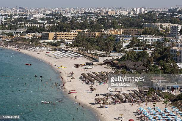 Tourists enjoy the beach on June 25 2016 in Sousse Tunisia Before the 2011 revolution tourism in Tunisia accounted for approximately 7% of the...