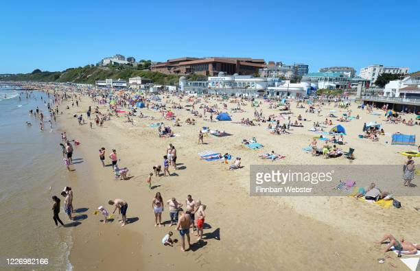 Tourists enjoy the hot weather at the beach on May 25 2020 in Bournemouth United Kingdom