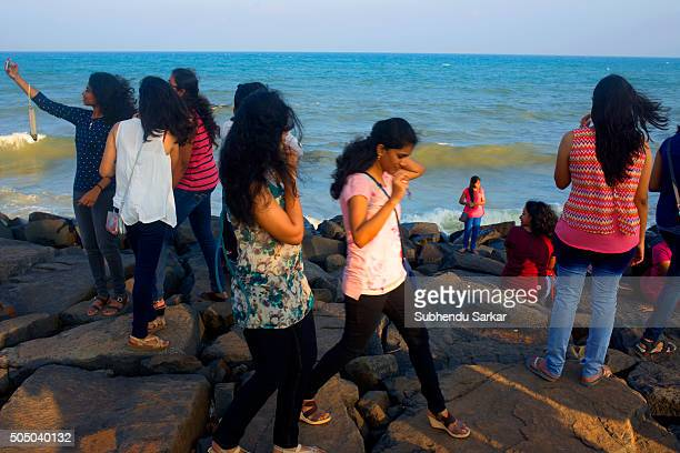 Tourists enjoy themselves at the Rocky beach in Puducherry Puducherry formerly known as Pondicherry is a Union Territory of India In 1674 Pondicherry...