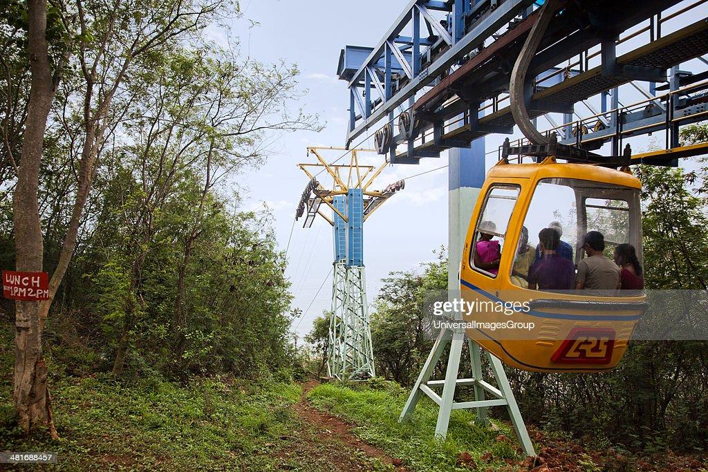 Tourists enjoying cable car ride, Kailasagiri Park, Visakhapatnam, Andhra Pradesh, India : ニュース写真