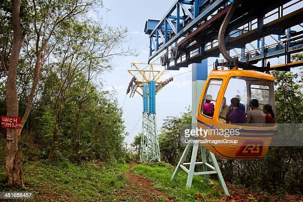 Tourists enjoying cable car ride, Kailasagiri Park, Visakhapatnam, Andhra Pradesh, India.