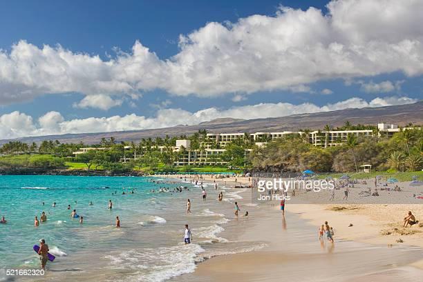 tourists enjoying hapuna beach - hapuna beach stock photos and pictures