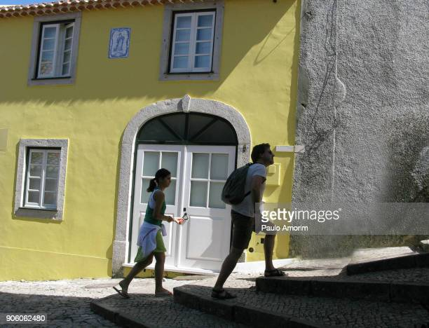 tourists enjoying in sintra city in portugal - sintra stock pictures, royalty-free photos & images