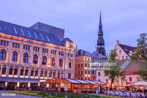 Riga, Latvia - June 3, 2017: Tourists enjoying the long white night on the Livu square.