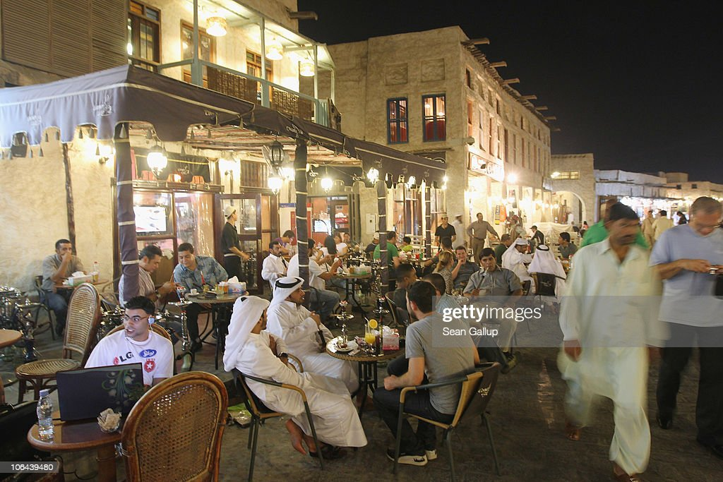 Tourists, expats and locals mix in the Souq Waqif on October 25