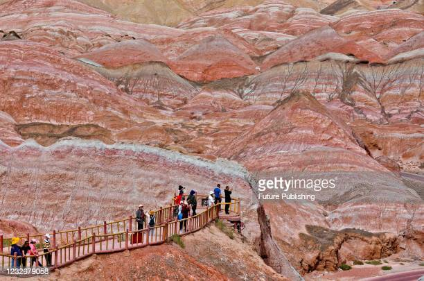 Tourists from all over the country flock to the colorful Danxia scenic spot in Zhangye, northwest China's Gansu Province, May 1, 2021.