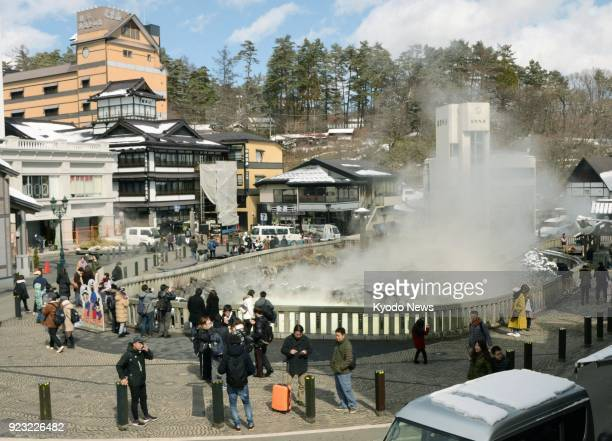 Tourists gather at Japan's Kusatsu ski and hot spring resort in Gunma Prefecture on Feb 23 a month after a volcanic eruption near the resort ==Kyodo