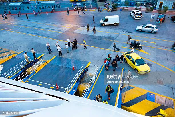 tourists going on ferry , athens, greece - piraeus stock pictures, royalty-free photos & images