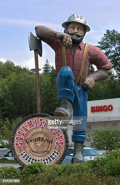 Tourists heading north out of Vancouver during the summer months are greeted by a large Paul Bunyon logger statue as viewed on June 30 2016 in...
