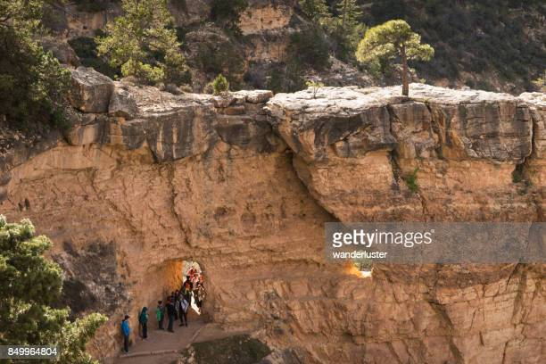 Tourists hiking the Bright Angel trail in Grand Canyon