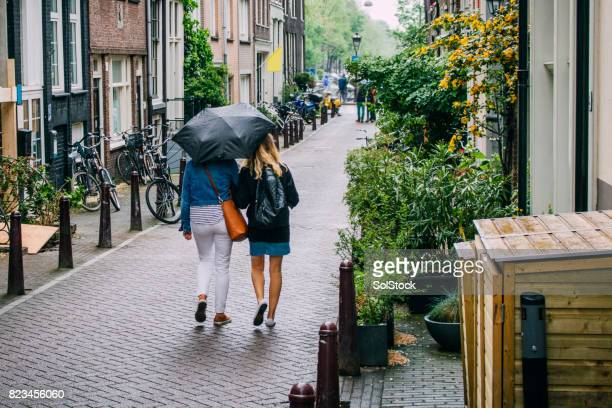 tourists in amsterdam - dutch culture stock photos and pictures