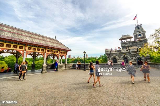 tourists in belvedere castle manhattan central park New York autumn