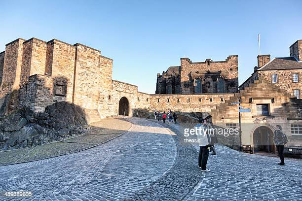 tourists in edinburgh castle - theasis stock pictures, royalty-free photos & images