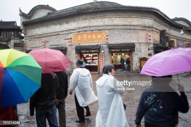 Tourists in Fenghuang, Hunan, China.