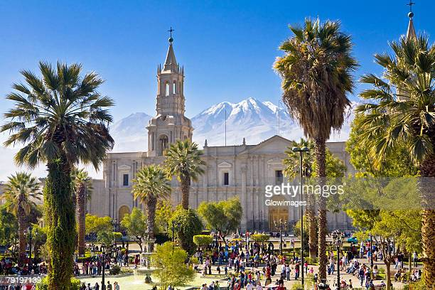 Tourists in front of a cathedral, Plaza-de-Armas, Arequipa, Peru