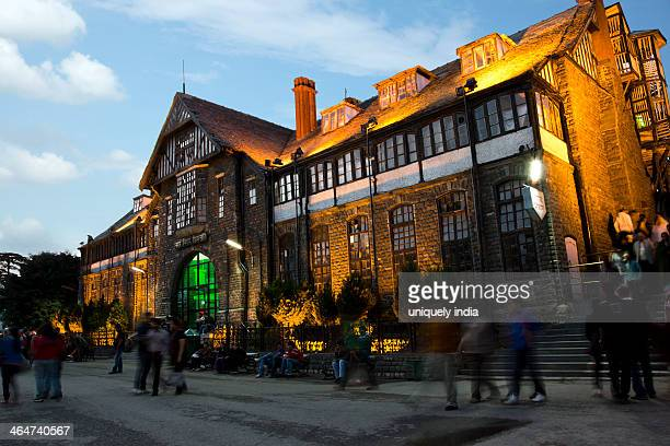 tourists in front of a government building, town hall, shimla, himachal pradesh, india - shimla stock pictures, royalty-free photos & images