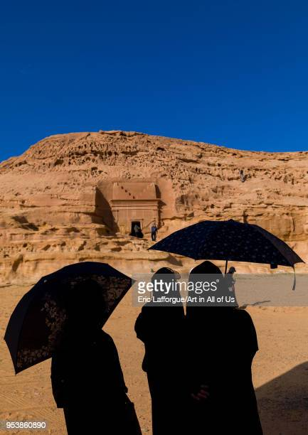 Tourists in front of a nabataean tomb in madain saleh archaeologic site Al Madinah Province AlUla Saudi Arabia on January 23 2010 in Alula Saudi...