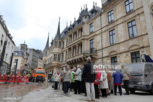 Tourists in front of the Palais Grand-Ducal are seen as Luxembourg prepares for its Royal Wedding, on October 12, 2012 in Luxembourg. Guillaume,...