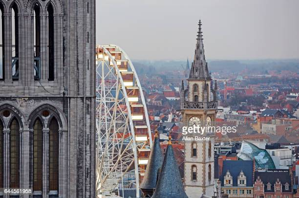 tourists in ghent - st nicholas' church stock pictures, royalty-free photos & images