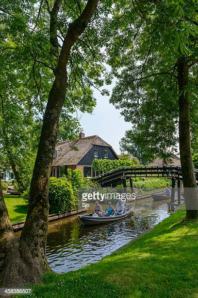 tourists in giethoorn - giethoorn stock pictures, royalty-free photos & images