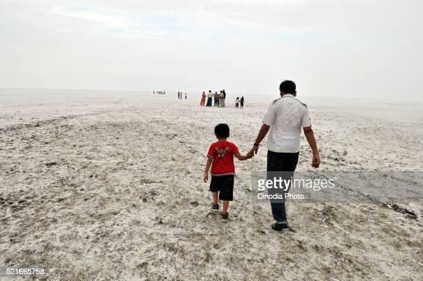 Tourists in great rann of kutch, Bhuj, Gujarat, India