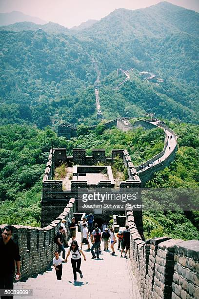 Tourists In Great Wall Of China