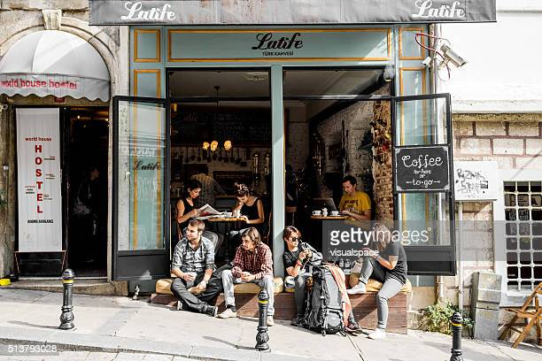 Tourists in Istanbul cafe in Beyoglu district