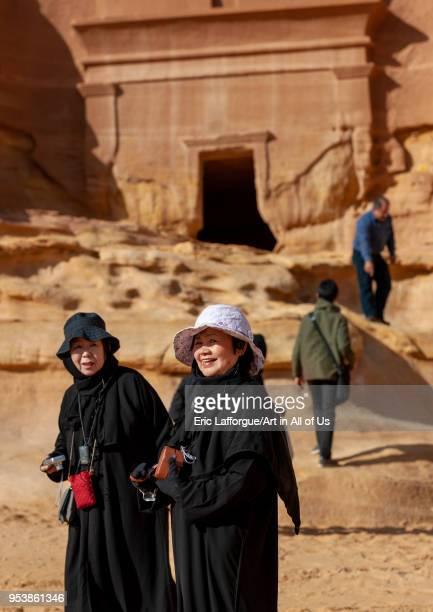 Tourists in madain saleh archaeologic site Al Madinah Province AlUla Saudi Arabia on January 25 2010 in Alula Saudi Arabia