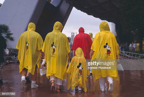 Tourists in Mickey Mouse Rain Ponchos
