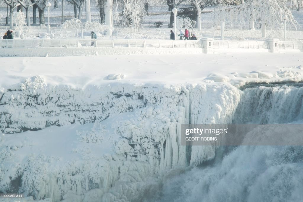 It is beautiful. The explosive storm can generate beautiful wintry landscapes. Here, the American side of Niagara Falls is nearly all frozen.