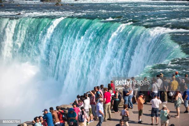tourists in niagara falls ontario canada - horseshoe falls niagara falls stock pictures, royalty-free photos & images