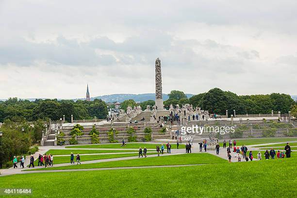 Tourists in Norway visiting Gustav Vigeland sculpture park..